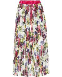 Dolce & Gabbana - Floral-printed Plissé Midi Skirt - Lyst