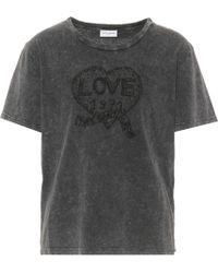 Saint Laurent - T-shirt en coton imprimé - Lyst