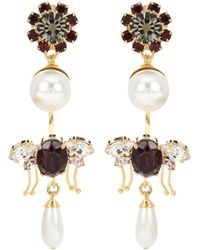 Erdem Bee Crystal and Faux Pearl Clip Earrings Ophug1E