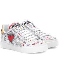 Dolce & Gabbana - Verzierte Sneakers aus Leder - Lyst