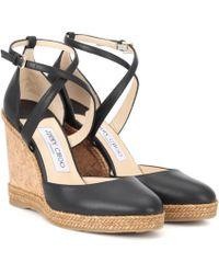 Jimmy Choo - Alita 105 Leather Wedge Sandals - Lyst