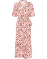 f3cb11ad51ae On sale Ganni - Floral Crêpe Wrap Dress - Lyst