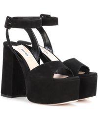 Miu Miu - Suede Platform Sandals - Lyst
