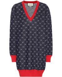 Gucci - V Neck Sweater Dress - Lyst