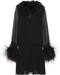 Saint Laurent - Feather-trimmed Silk Minidress - Lyst