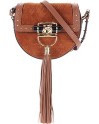 Balmain - Embellished Suede Saddle Bag - Lyst