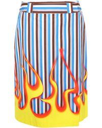 Prada - Striped Cotton Skirt - Lyst