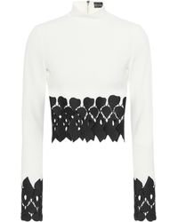 David Koma - Cady Lace-trimmed Crop Top - Lyst