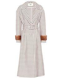 Fendi - Cappotto in lana con pelliccia - Lyst