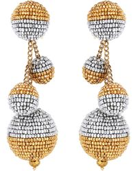 Oscar de la Renta - Beaded Ball Drop Earrings - Lyst