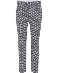 Tory Burch - Pantalones de jacquard cropped en bloques - Lyst