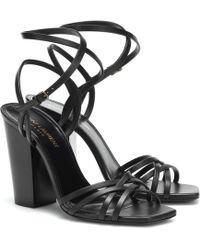 ec573f119f12 Saint Laurent Inez 105 Leather Sandals in Black - Lyst