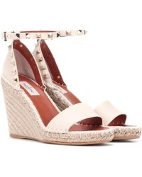 Valentino - Rockstud Double Leather Wedge Espadrilles - Lyst