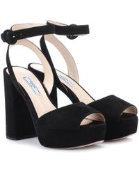 7b58b1177cd3 Prada Suede Ankle-strap Wedge Sandals in Black - Lyst