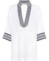 Tory Burch - Embroidered Linen Tunic - Lyst