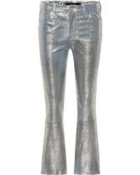 J Brand - Selena Cropped Metallic Snake-effect Leather Flared Pants - Lyst