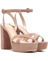 Gianvito Rossi - Poppy 70 Suede Plateau Sandals - Lyst