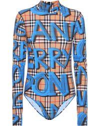 Burberry - Graffiti Check Jersey Bodysuit - Lyst