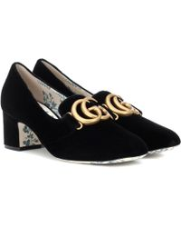 163cc046dcd Lyst - Gucci Black Pearl Heel 80 Leather Pumps in Black