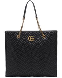 Gucci - Gg Marmont Large Leather Tote - Lyst