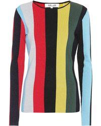 Diane von Furstenberg | Long Sleeve Lurex Stripe Sweater | Lyst