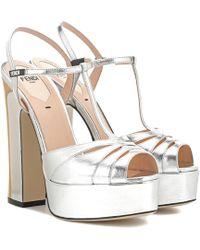 Fendi | Leather Plateau Sandals | Lyst