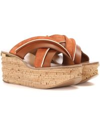 Chloé - Camille Platform Suede And Leather Sandals - Lyst