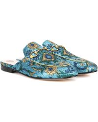 Gucci - Princetown Brocade Mules - Lyst