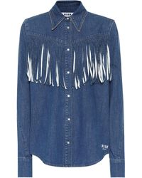 MSGM - Fringed Denim Shirt - Lyst