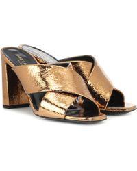 Saint Laurent - Loulou 95 Metallic Leather Sandals - Lyst