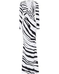 Roberto Cavalli - Zebra-printed Stretch Jersey Gown - Lyst