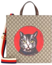 Gucci - Printed Leather Tote - Lyst