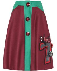 Miu Miu - Embellished Wool Skirt - Lyst