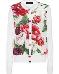 Dolce & Gabbana - Floral-printed Silk Cardigan - Lyst