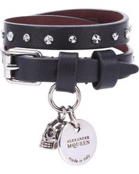 Alexander McQueen - Studded Leather Wrap Bracelet - Lyst