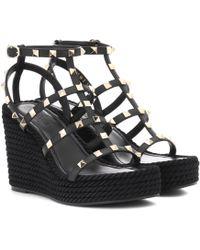 Valentino - Garavani Torchon Leather Wedge Sandals - Lyst