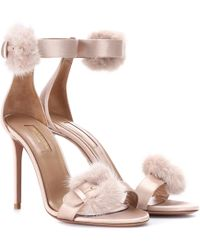 Aquazzura - Sinatra 105 Fur-trimmed Sandals - Lyst