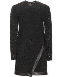 Tom Ford - Leather-trimmed Lace Mini Dress - Lyst