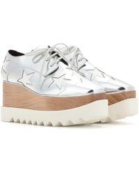 4ccd51775425 Stella McCartney - Britt Metallic Platform Derby Shoes - Lyst