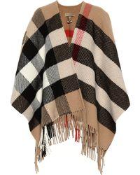 b2fef56efd3a Burberry - Cape à carreaux en laine et cachemire mélangés - Lyst