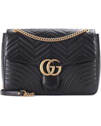 Lyst - Sac à bandoulière en cuir matelassé GG Marmont Large Gucci en ... 8b3f91d465c