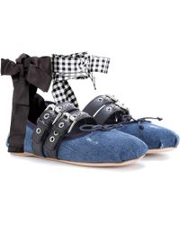 Miu Miu - Buckle-embellished Denim Ballerinas - Lyst
