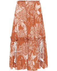 See By Chloé - Printed Cotton-blend Midi Skirt - Lyst