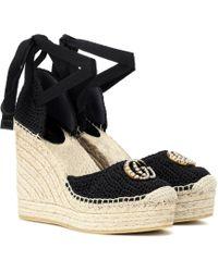 Gucci - Crochet Wedge Espadrilles - Lyst