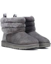 UGG - Fluff Mini Quilted Suede Ankle Boots - Lyst