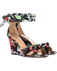 Aquazzura | Cherry Blossom Wedge Sandals | Lyst