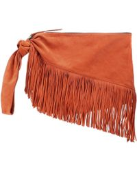 0fe219f6eb Valentino Gryphon Fringe Leather Finger Clutch in Black - Lyst