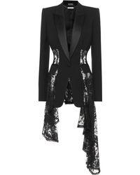 Alexander McQueen - Lace Trim Wool And Silk-blend Jacket - Lyst