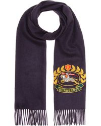 Burberry - Embroidered Cashmere Scarf - Lyst