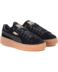 PUMA - Basket Platform Velvet Sneakers - Lyst